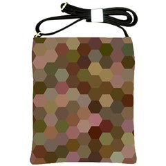 Brown Background Layout Polygon Shoulder Sling Bags