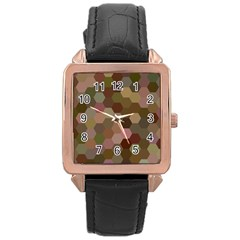 Brown Background Layout Polygon Rose Gold Leather Watch