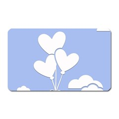Clouds Sky Air Balloons Heart Blue Magnet (rectangular) by Nexatart