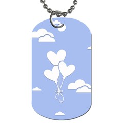 Clouds Sky Air Balloons Heart Blue Dog Tag (one Side)