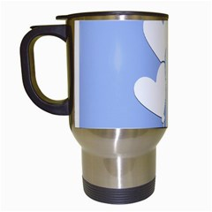 Clouds Sky Air Balloons Heart Blue Travel Mugs (white) by Nexatart