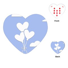 Clouds Sky Air Balloons Heart Blue Playing Cards (heart)  by Nexatart