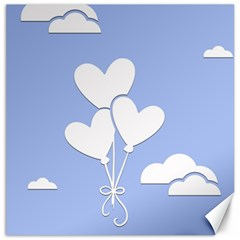 Clouds Sky Air Balloons Heart Blue Canvas 12  X 12   by Nexatart