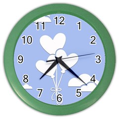 Clouds Sky Air Balloons Heart Blue Color Wall Clocks