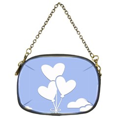 Clouds Sky Air Balloons Heart Blue Chain Purses (one Side)  by Nexatart