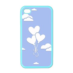 Clouds Sky Air Balloons Heart Blue Apple Iphone 4 Case (color) by Nexatart