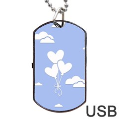 Clouds Sky Air Balloons Heart Blue Dog Tag Usb Flash (two Sides) by Nexatart