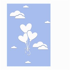 Clouds Sky Air Balloons Heart Blue Small Garden Flag (two Sides) by Nexatart