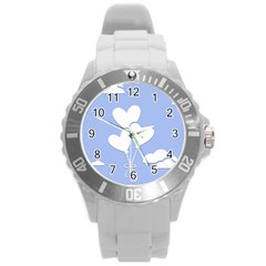Clouds Sky Air Balloons Heart Blue Round Plastic Sport Watch (l)