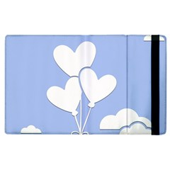 Clouds Sky Air Balloons Heart Blue Apple Ipad 3/4 Flip Case