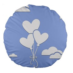Clouds Sky Air Balloons Heart Blue Large 18  Premium Round Cushions by Nexatart