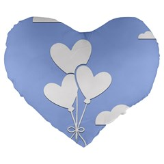 Clouds Sky Air Balloons Heart Blue Large 19  Premium Heart Shape Cushions by Nexatart