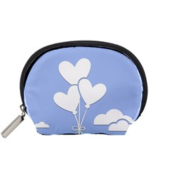 Clouds Sky Air Balloons Heart Blue Accessory Pouches (small)  by Nexatart