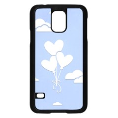 Clouds Sky Air Balloons Heart Blue Samsung Galaxy S5 Case (black)