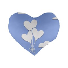 Clouds Sky Air Balloons Heart Blue Standard 16  Premium Flano Heart Shape Cushions by Nexatart