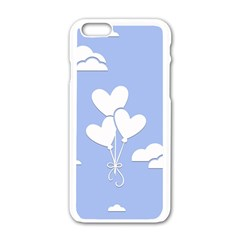 Clouds Sky Air Balloons Heart Blue Apple Iphone 6/6s White Enamel Case by Nexatart