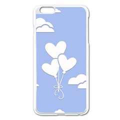 Clouds Sky Air Balloons Heart Blue Apple Iphone 6 Plus/6s Plus Enamel White Case by Nexatart