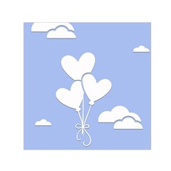 Clouds Sky Air Balloons Heart Blue Small Satin Scarf (square) by Nexatart