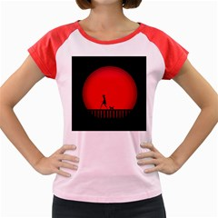 Girl Cat Scary Red Animal Pet Women s Cap Sleeve T-shirt by Nexatart