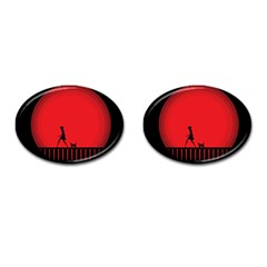 Girl Cat Scary Red Animal Pet Cufflinks (oval) by Nexatart