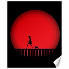 Girl Cat Scary Red Animal Pet Canvas 16  X 20