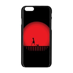 Girl Cat Scary Red Animal Pet Apple Iphone 6/6s Black Enamel Case by Nexatart
