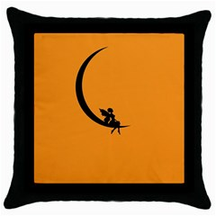 Angle Moon Scene Girl Wings Black Throw Pillow Case (black) by Nexatart