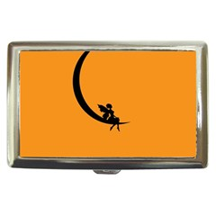 Angle Moon Scene Girl Wings Black Cigarette Money Cases by Nexatart