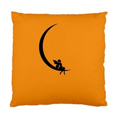 Angle Moon Scene Girl Wings Black Standard Cushion Case (two Sides) by Nexatart