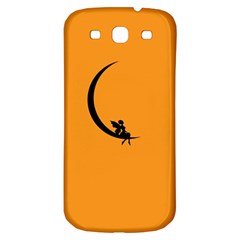Angle Moon Scene Girl Wings Black Samsung Galaxy S3 S Iii Classic Hardshell Back Case