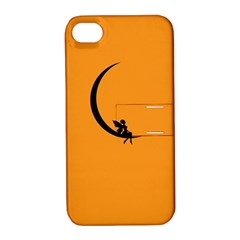Angle Moon Scene Girl Wings Black Apple Iphone 4/4s Hardshell Case With Stand