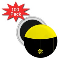 Flower Land Yellow Black Design 1 75  Magnets (100 Pack)