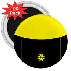 Flower Land Yellow Black Design 3  Magnets (100 Pack) by Nexatart