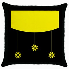 Flower Land Yellow Black Design Throw Pillow Case (black)