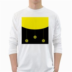 Flower Land Yellow Black Design White Long Sleeve T Shirts
