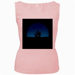 Ship Night Sailing Water Sea Sky Women s Pink Tank Top