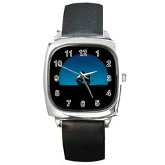 Ship Night Sailing Water Sea Sky Square Metal Watch