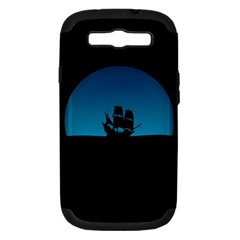 Ship Night Sailing Water Sea Sky Samsung Galaxy S Iii Hardshell Case (pc+silicone) by Nexatart