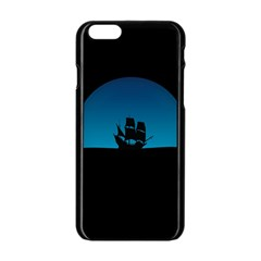 Ship Night Sailing Water Sea Sky Apple Iphone 6/6s Black Enamel Case