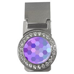 Purple Hexagon Background Cell Money Clips (cz)  by Nexatart
