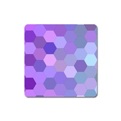 Purple Hexagon Background Cell Square Magnet