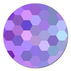 Purple Hexagon Background Cell Magnet 5  (round)