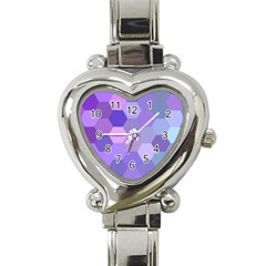 Purple Hexagon Background Cell Heart Italian Charm Watch by Nexatart