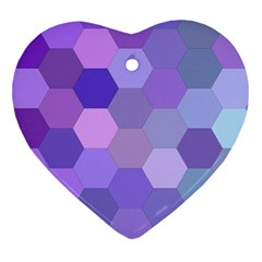 Purple Hexagon Background Cell Heart Ornament (two Sides) by Nexatart