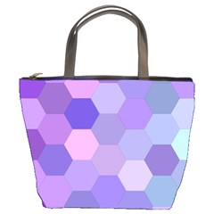 Purple Hexagon Background Cell Bucket Bags