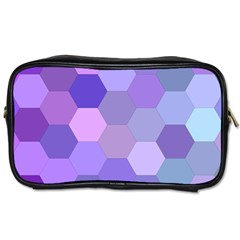 Purple Hexagon Background Cell Toiletries Bags 2 Side