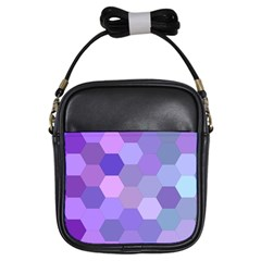 Purple Hexagon Background Cell Girls Sling Bags by Nexatart