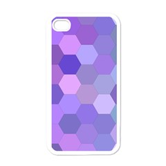 Purple Hexagon Background Cell Apple Iphone 4 Case (white) by Nexatart