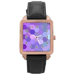 Purple Hexagon Background Cell Rose Gold Leather Watch