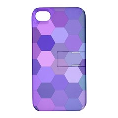 Purple Hexagon Background Cell Apple Iphone 4/4s Hardshell Case With Stand by Nexatart